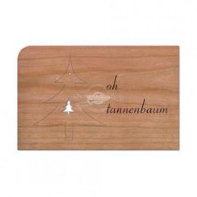 """Grußkarte aus Holz """"Anhänger Tannenbaum - Weihnachten"""" mit Umschlag - von Holzpost - scheissladen.com"""