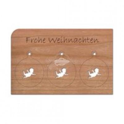 """Grußkarte aus Holz """"Anhänger Engel - Frohe Weihnachten"""" mit Umschlag - von Holzpost - scheissladen.com"""