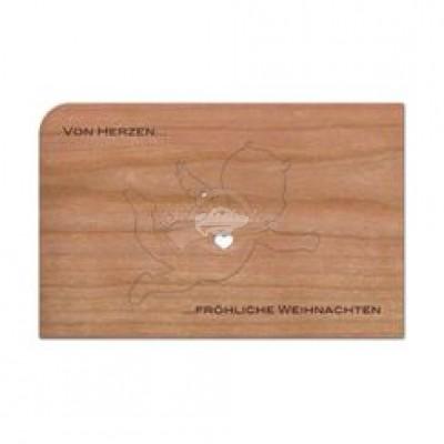 """Grußkarte aus Holz """"Anhänger Von Herzen - Fröhliche Weihnachten"""" mit Umschlag - von Holzpost - scheissladen.com"""