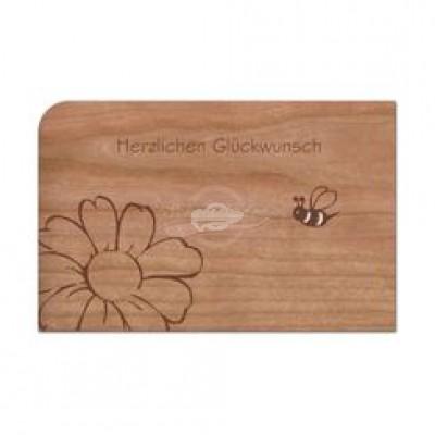 """Grußkarte aus Holz """"Biene Blume"""" mit Umschlag"""