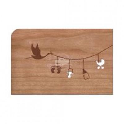 """Grußkarte aus Holz """"Leine - Geburt"""" mit Umschlag"""