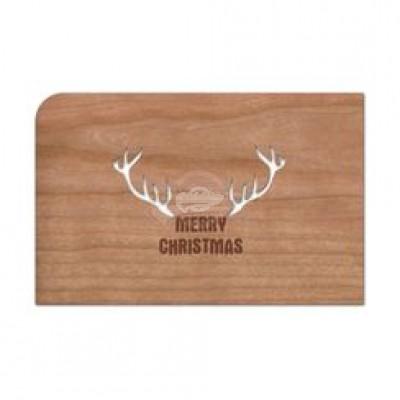 """Grußkarte aus Holz """"Geweih - Merry Christmas Weihnachten"""" mit Umschlag - von Holzpost - scheissladen.com"""