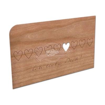 """Grußkarte aus Holz """"Ich liebe Dich"""" mit Umschlag"""