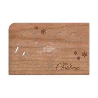"""Grußkarte aus Holz """"Engel Harfe stecken - Weihnachten"""" mit Umschlag - von Holzpost - scheissladen.com"""