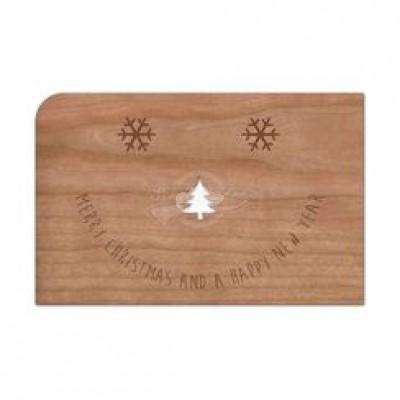 """Grußkarte aus Holz """"Gesicht - Frohe Weihnachten """" mit Umschlag - von Holzpost - scheissladen.com"""