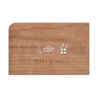 """Grußkarte aus Holz """"Geschenke - Weihnachten"""" mit Umschlag - von Holzpost - scheissladen.com"""