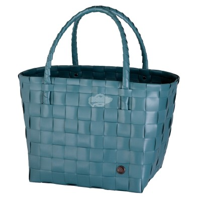 "Handed by - Tasche Shopper ""Paris"" - fat strap teal blue - S"