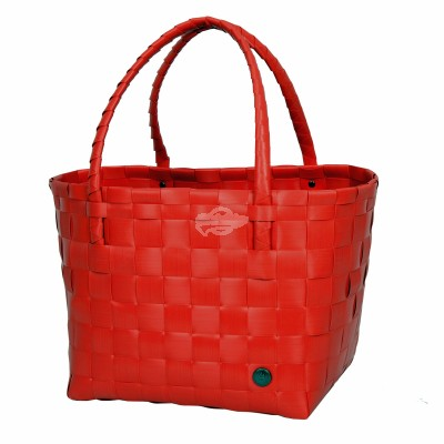 "Handed by - Tasche Shopper ""Paris"" - fat strap coral red - S"