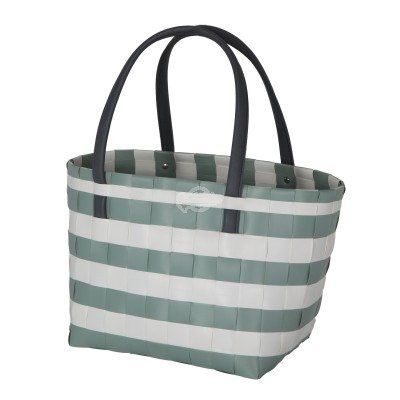 "Handed by - Tasche Shopper ""Color Block Vintage"" - fat strap greyish green with white - S"