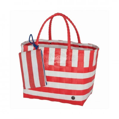 "Handed by - Tasche Strandtasche ""Breeze"" coral red - L 2tlg Set"