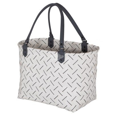 "Handed by - Tasche Shopper ""Luxury"" - fat strap - white - dark grey - L"