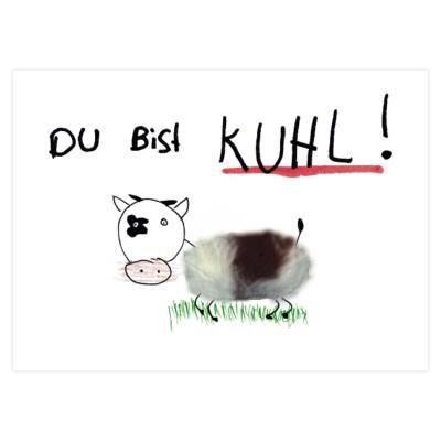 """Plüsch Postkarte coole Kuh – """"Kuhl"""""""