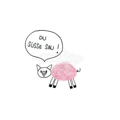 """Plüsch Postkarte Schwein – """"Du süße Sau"""""""