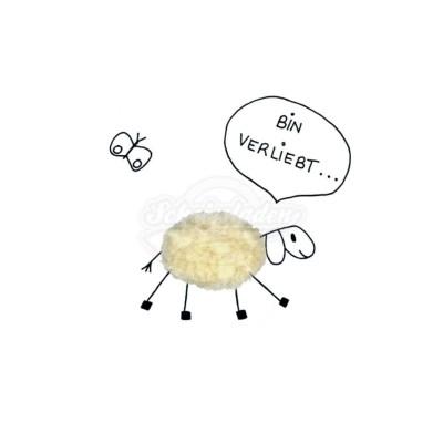 """Plüsch Postkarte Schafe Liebesgeständnis – """"Bin verliebt"""""""