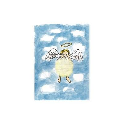 """Plüsch Postkarte Trauerkarte Schutzengel Engel – """"Weihnachtsengel"""""""