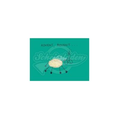 """Plüsch Postkarte Schaf Advent – """"kuschlige Weihnachtsgrüße"""""""