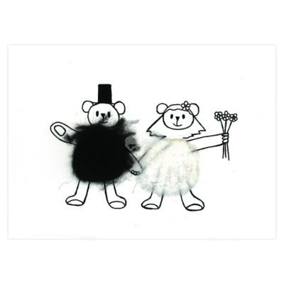 Plüsch Postkarte Bären Hochzeit - Wedding