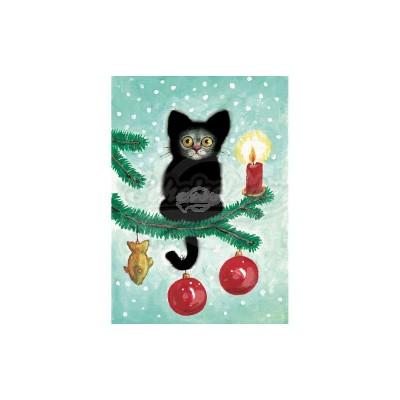 """Plüsch Postkarte Katze Weihnachten – """"Weihnachtskater"""" - von Inkognito - scheissladen.com"""