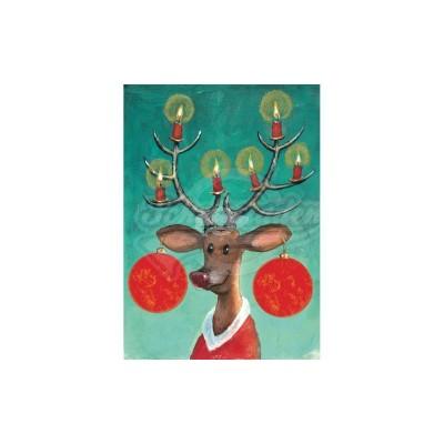 """Plüsch Postkarte Lucia Weihnachten – """"Rentier"""" - von Inkognito - scheissladen.com"""