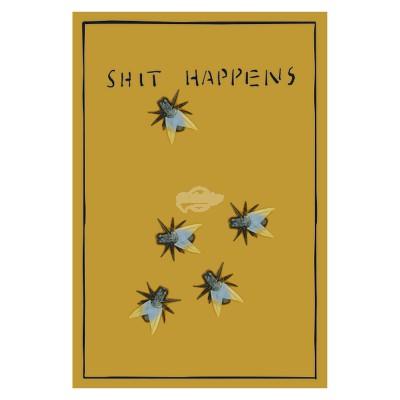 """Geschenkkarte """"Shit happens"""" mit Spielzeugfliegen"""