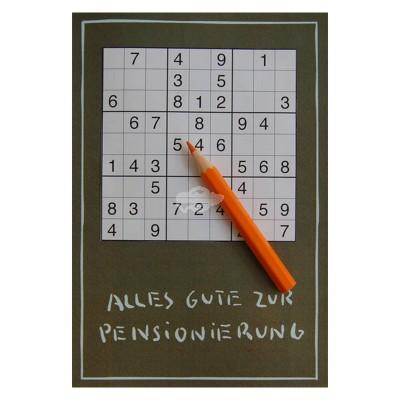 """Geschenkkarte """"Alles Gute zur Pensionierung"""" mit Bleistift"""