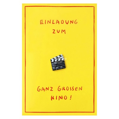 """Geschenkkarte """"Einladung - Großes Kino"""" mit Mini-Filmklappe"""