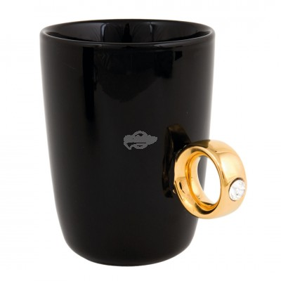 Schwarzer Kaffeebecher ''Diamantring'' - Gold