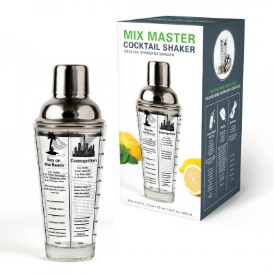 "Coctailshaker mit Rezepten ""Recipe Cocktail Shaker 16Oz"" - ca. 475 ml"