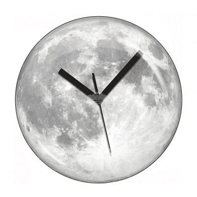 """Wanduhr """"Mondschein"""" fluoreszierend ultraflach leises präzises Uhrwerk Mond Moon"""