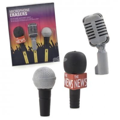 3er Set Radiergummis - Mikrofon