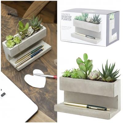 """Schreibtisch Organisator aus Beton """"Concrete Desktop Planter"""" - groß"""