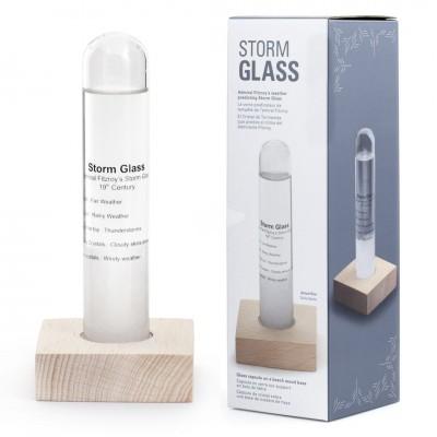 Barometer - Storm Glass Beechwood Base