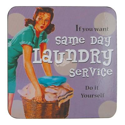 Untersetzer ''Same Day Laundry'' Bierdeckel Getränkeuntersetzer Retro 50's Deko