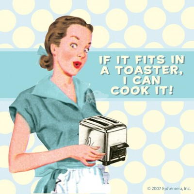 "Untersetzer ""Fits in a toaster"" - 50s"
