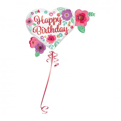 "Folienballon ""Happy Birthday"" Floral Print 