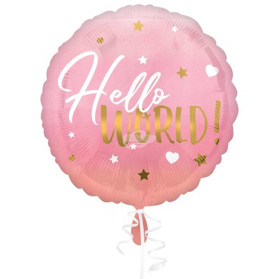 "Folienballon ""Hello World!"" Pink Baby Girl 