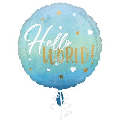 "Folienballon ""Hello World!"" Blue Baby Boy 