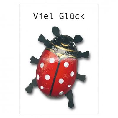 """Postkarte """"Viel Glück"""" - Maikäfer"""