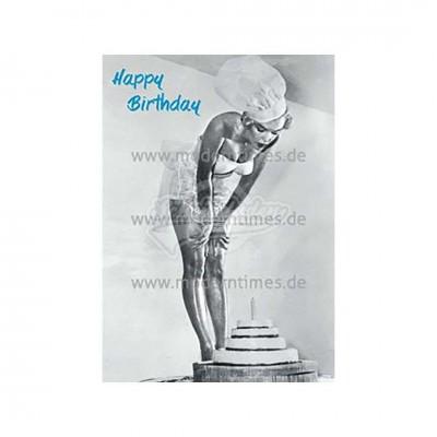 """Postkarte """"Happy Birthday Kuchen und Frau"""""""