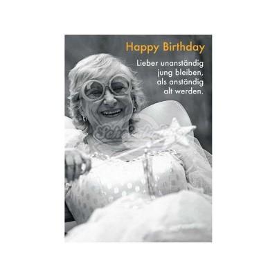 """Briefkarte """"Lieber unanständig"""" - Happy Birthday"""