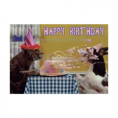 "Postkarte ""Happy Birthday Hundetorte"""