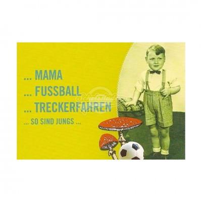"Postkarte ""Mama Fußball Treckerfahren"""