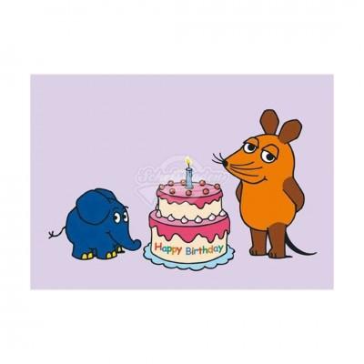 """Postkarte """"Happy Birthday"""" - Sendung mit der Maus"""