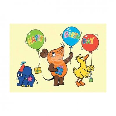 """Postkarte """"Geburtstagsballons"""" - Sendung mit der Maus"""