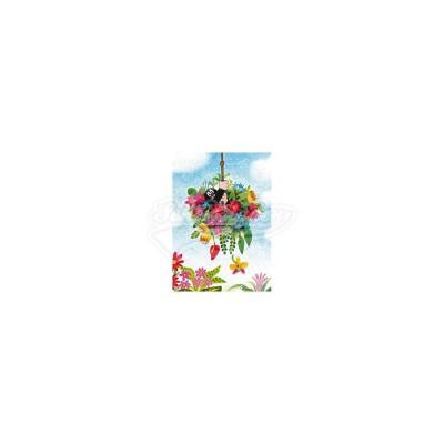 """Postkarte """"Blumenschaukel"""" - kleiner Maulwurf"""