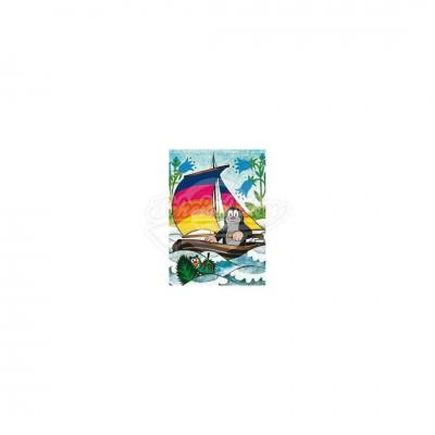 """Postkarte """"Im Segelboot"""" - kleiner Maulwurf"""