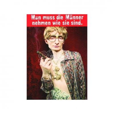 """Postkarte """"Man muss die Männer nehmen wie sie sind"""""""