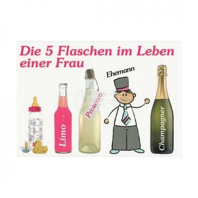 "Postkarte ""5 Flaschen Frau"""