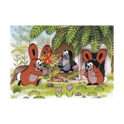"""Postkarte """"Maulwurf mit Hasen"""" - kleiner Maulwurf"""