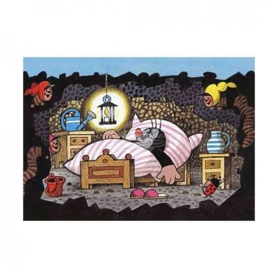 """Postkarte """"Schläft im Bett"""" - kleiner Maulwurf"""